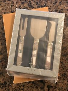 New Anthropologie Cheese Knife Set Pearl Abalone Seashell Inlay