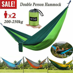 Nylon Double Person Hammock Adult Camping Outdoor Picnic Hiking Sleeping Bed USA