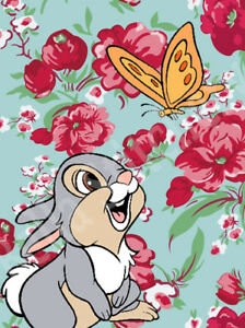 Thumper Bunny amp; Flowers Fan Art Collage 7x10 Craft amp; Sewing Cotton Fabric Block $15.00