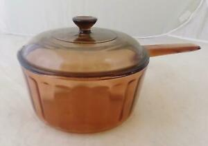 Corning Vision Ware Amber 1.5 Liter Sauce Pan with Lid Green Cooking