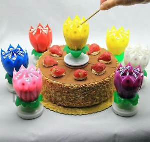 Musical Birthday Candle Lotus Flower Rotating Cake Topper for Party Colorful