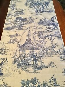 "Vintage toile table runner Blue & White 72"" x 14"" VGUC"