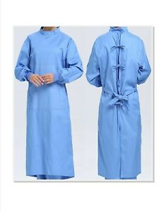 New Isolation Gown Case of 25 size M Blue Reusable Medical surgical Gown Doctor