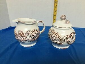 Vintage White and Brown Sugar and Creamer Set Pinecone and Holly