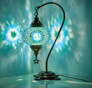 Turkish Moroccan Mosaic Colorful Swan Table Bedside Mood Lamp Lampshade TEAL