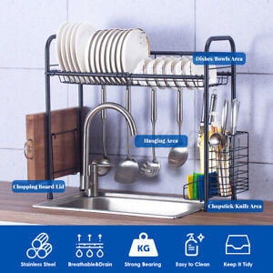 1-Tier Stainless Steel Over Sink Dish Drying Rack Holder For Kitchen Dishes