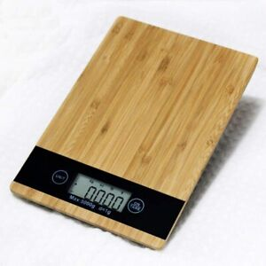 Digital Food Kitchen Scale| Bamboo Panel Electronic LCD Screen Display Weight