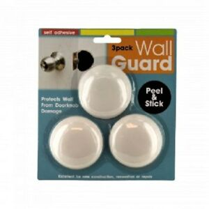 3 pc. Door Knob Wall Shield Round White Self Adhesive Protector Prevents Holes