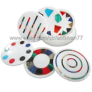 Geometric Coasters With Holder Hand Made Marble Inlay Abstract Round Coaster Set