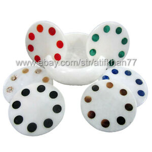 Abstract Round Coaster Set Polka Design Hand made Marble Inlay Tableware