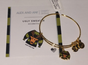 Alex and Ani Bangle Bracelet Shiny gold Tone Christmas Collectionquot;Ugly Sweaterquot; $19.00