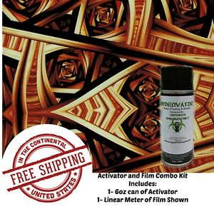 HYDROGRAPHIC WATER TRANSFER HYDRO DIP 6OZ ACTIVATOR amp; KALEIDOSCOPE 4 FILM KIT