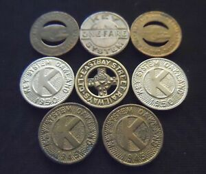 Lot of 8 Vintage Oakland California Transit Tokens