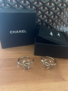 Authentic Rare Chanel Large CC Logo Gold Hoop Dangle Earrings