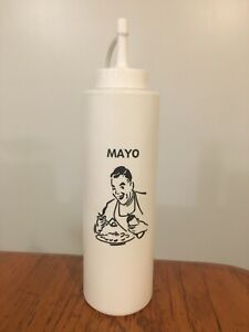 Vtg Retro Diner Plastic Squeeze Bottle Dispenser MAYO Mayonnaise (like Ketchup)