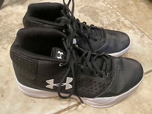 Womens Under Armour Sneaker Athletic Shoes Black White 4501421487 Size 8 $25.00