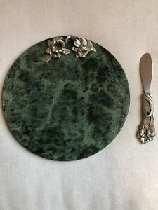 Seagull Green Marble Round Cutting Cheese Board W/Pewter Flower Cluster