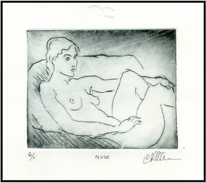 RECLINING NUDE Female Original ETCHING Signed Limited Edition Art Print $45.00