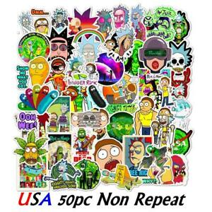 50x Rick and Morty Pickle Cartoon Vinyl Decal Stickers Skateboard Laptop Car Hot