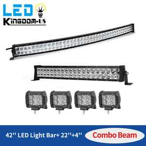 42inch LED Offroad Light Bar Combo 22quot; 4quot; PODS SUV 4WD UTE For FORD JEEP SUV $75.86