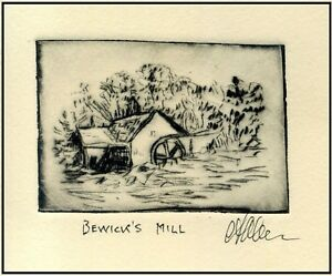 Old Country WATERWHEEL MILL Scene ORIGINAL ETCHING Miniature Signed ArT Print $15.00