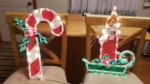 2 Vintage 18 Electric Window Christmas Candy Cane & Candle