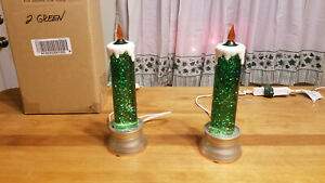 Set of 2 Vintage 10 Green Glitter Electric Candles for table or window