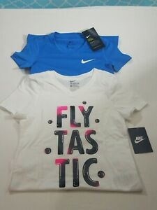 Nike Girls Dri Fit T Shirt Blue & The Nike Tee White Youth Size S New Lot 2 $18.99