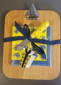 Nautical Wood Serving Cutting Board, Napkin & Spreader Knife Gift Set by Mud Pie