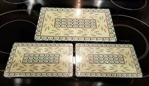 New! Set of 3 Temptations Old World GreenTempered Glass Cutting Boards/Trivets