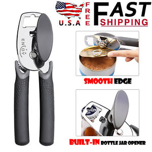 Can Opener Stainless Steel Safe Aid Manual Cut Lid Smooth Edge Side Opener Tool