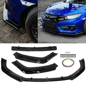 For 2016 2018 Honda Civic Front Bumper Lip Body Kit Spoiler Glossy Black 3PCS 16 $58.99