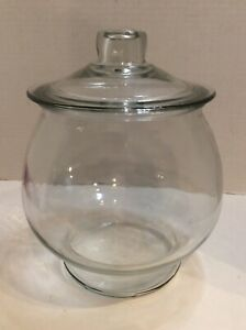Vintage Apothecary Round Clear Glass Jar With Lid Cookie Terrarium Heavy Jar