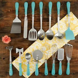 Pioneer Woman 15-Piece Kitchen Cooking Utensil Tool and Gadget Set,Turquoise NEW