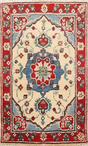 IVORY Super Kazak Oriental Area Rug Traditional Hand-Knotted Wool 2x3 Carpet