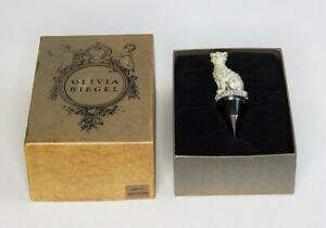 Olivia Riegel Exotic Silver Crystal Jeweled Cat Wine Bottle Stopper with Box