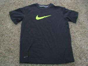 Nike boys gray neon yellow swoosh tee shirt dri fit small S 6 7 cotton blend $10.99
