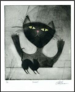 Big and LIttle Cats ORIGINAL ETCHING Signed Numbered  Limited-Edition Art Print $45.00