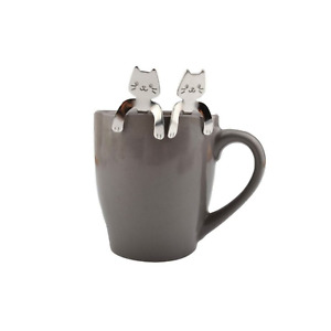 2PCS Cute Tea Spoon Cat Hanging Mini Stainless Steel Hanging Trendy Gift USA 5