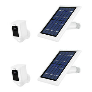 Ring Spotlight Cam Battery with Solar Panel Bundle Deal Camera 2 Pack White
