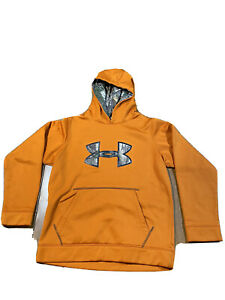 Boys Under Armour Hoodie Sweatshirt Size Youth Large Orange Camo D21 $11.19