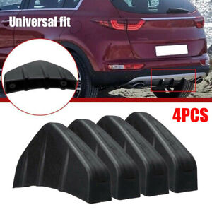4x Universal Car Rear Bumper Lip Diffuser Shark Fins Splitter Accessories Black