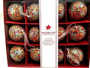 Balsam & Fir Set of 12 Christmas Tree Ornaments Sprinkle Beads Multi-colored