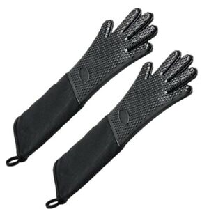 1X(Extra Long Professional Silicone Oven Mitt,Heat Resistant Cooking Glove X3B5