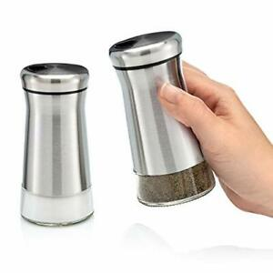 Premium Salt and Pepper Shakers with Adjustable Pour Holes - Elegant Stainless