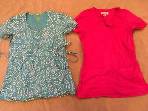 Koi Healing Hands Scrubs Lot Xs Womens Pink Turquoise Blue Pattern Solid