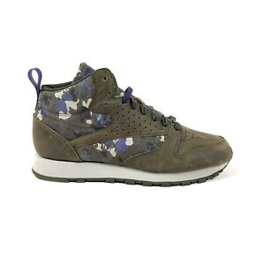 Reebok CL Leather Mid DC Classic Green Purple Camouflage Size 9.5 Shoes BS5173