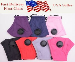 Reusable 100% Cotton Cloth Face Mask with Air Valve kids & Adults Size Washable