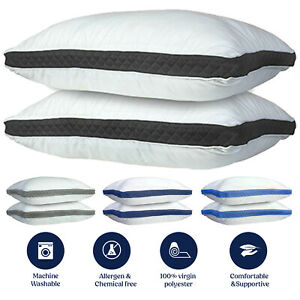 Hypoallergenic 2 Pack Queen King Neck Support Gusseted Quilted Firm Bed Pillows