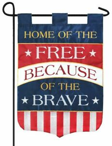 Home of the Free Double Applique Garden Flag - 3-ply construction - NEW!